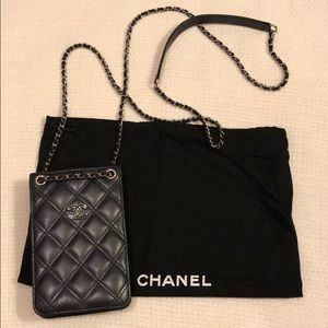 Quilted Chanel Phone Case Holder with Chain
